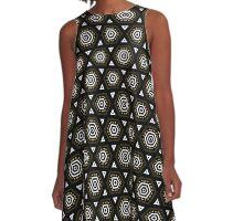 Black Bronze + White Geometric Shapes A-Line Dress
