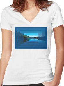 Gorilla Creek in the mist Women's Fitted V-Neck T-Shirt
