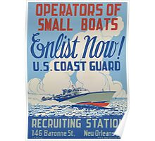 WPA United States Government Work Project Administration Poster 2003 Operators of Small Boats Enlist Now US Coast Guard Poster