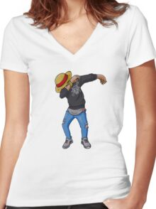 Luffy Dab, One Piece Women's Fitted V-Neck T-Shirt