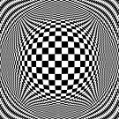 Optical Illusion Checkers Chequers  by Kitty Bitty