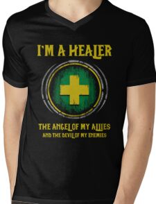 Warcraft - I'm A Healer The Angel Of My Allies And The Devil Of My Enmenies Mens V-Neck T-Shirt