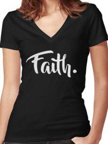 Faith. Tshirt (White) Women's Fitted V-Neck T-Shirt