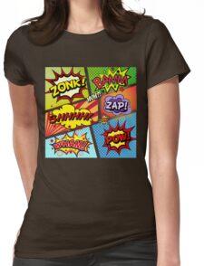 Colorful Comic Book Panels Womens Fitted T-Shirt