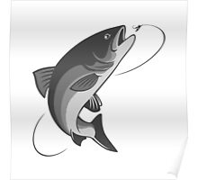 fly fishing salmon Poster