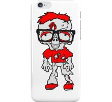 nerd geek streber freak hornbrille pickel spange zombie lustig gesicht kopf untot horror monster halloween  iPhone Case/Skin