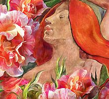 Redheaded Woman With Roses by Carol  Cavalaris