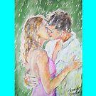 Kissing in the Rain (Pillow) by Jennifer Ingram