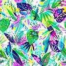 Colorful Tropical Flowers & Leafs Collage by artonwear