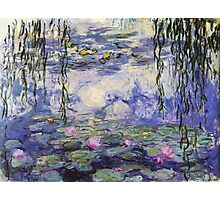 Claude Monet, Waterlily oil on canvas.  Beautiful vintage purple waterlily and big green leaves flowering pond Photographic Print