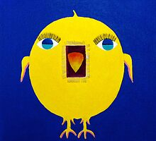 Yellow Bird with Lashes by Marie Zelek