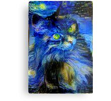 Blue Kitty Metal Print