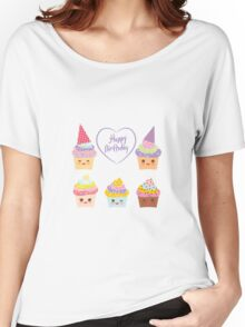 Birthday Card design with Cupcake  Women's Relaxed Fit T-Shirt