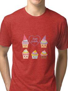Birthday Card design with Cupcake  Tri-blend T-Shirt