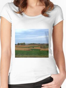 Autumn Wisconsin Farmland Women's Fitted Scoop T-Shirt