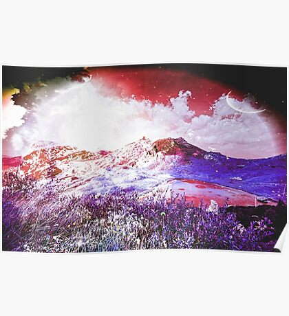Starry Mountain Scene Poster