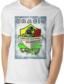 Brazil King Of Futebol Mens V-Neck T-Shirt