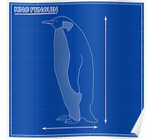 King Penguin Blueprint Poster