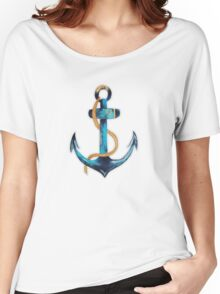 Sailor Anchor Blue Nautical Watercolor Women's Relaxed Fit T-Shirt