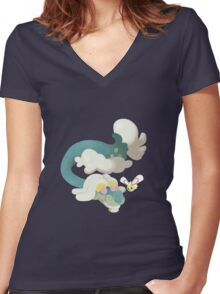 Drampa and Cutiefly Women's Fitted V-Neck T-Shirt
