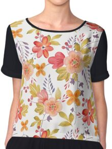 Watercolor Flowers Red Peach Yellow Chiffon Top