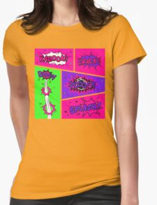 Bright and Colorful Comic Book Art Womens Fitted T-Shirt