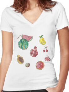 fruit party! Women's Fitted V-Neck T-Shirt