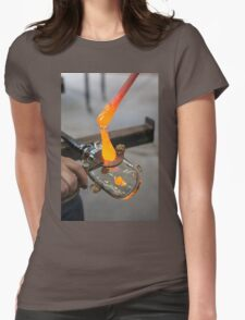 Glassblower cuts molten glass with a hand tool Womens Fitted T-Shirt