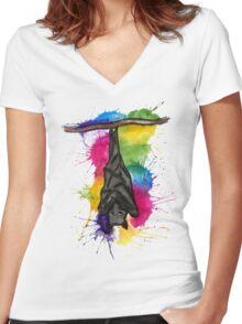 Bat Splat  Women's Fitted V-Neck T-Shirt