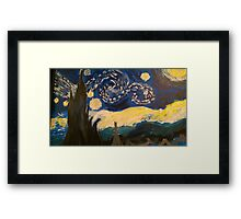 Starry Night Hand Painted Framed Print