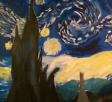 Starry Night Hand Painted by Razmataz
