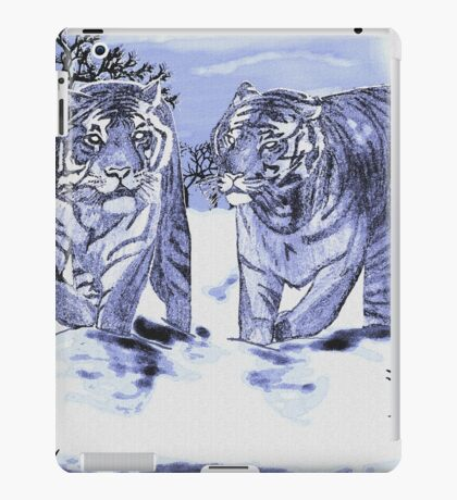 Snow Tigers Blue Justin Beck Picture 2015088 iPad Case/Skin