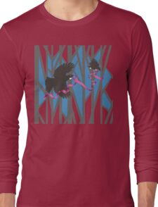 Flying Tui in Forest with Pink Ribbon Long Sleeve T-Shirt