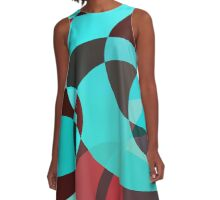 Turquoise Auburn Circle Abstract Pattern  A-Line Dress