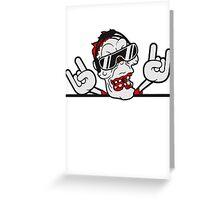 mauer rocker hard rock heavy metal musik party feiern band konzert festival sonnenbrille untoter böse ekelig monster horror halloween zombie  Greeting Card