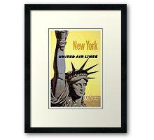 New York United Air Lines vintage Travel Poster Framed Print