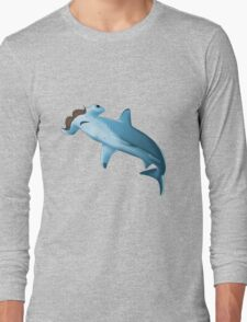 Sharkstache -white- Long Sleeve T-Shirt