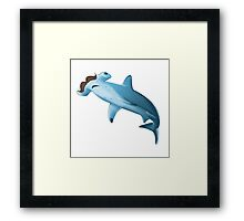 Sharkstache -white- Framed Print