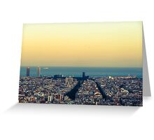 Panorama on Barcelona city from Montjuic castle.Catalonia Greeting Card