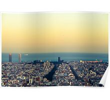 Panorama on Barcelona city from Montjuic castle.Catalonia Poster