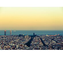 Panorama on Barcelona city from Montjuic castle.Catalonia Photographic Print