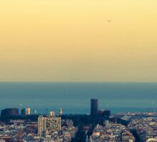 Panorama on Barcelona city from Montjuic castle.Catalonia Sticker