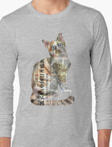 French Kitty on Black Long Sleeve T-Shirt