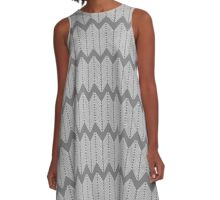 Knitting Needle Forest Nettles Chevron Pattern - Black and White A-Line Dress