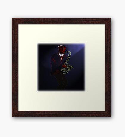 Blues in Black - Tenor Saxophone Framed Print