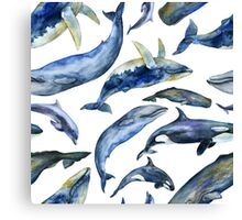 Watercolor whales Canvas Print