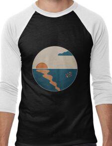 Simplistic Ocean Horizon  Men's Baseball ¾ T-Shirt