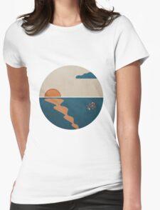 Simplistic Ocean Horizon  Womens Fitted T-Shirt