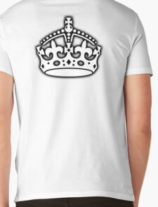 CROWN, British Crown UK, Her Majesty the Queen; white Mens V-Neck T-Shirt