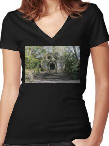 Souvenir from Bomarzo - monster's castle Women's Fitted V-Neck T-Shirt